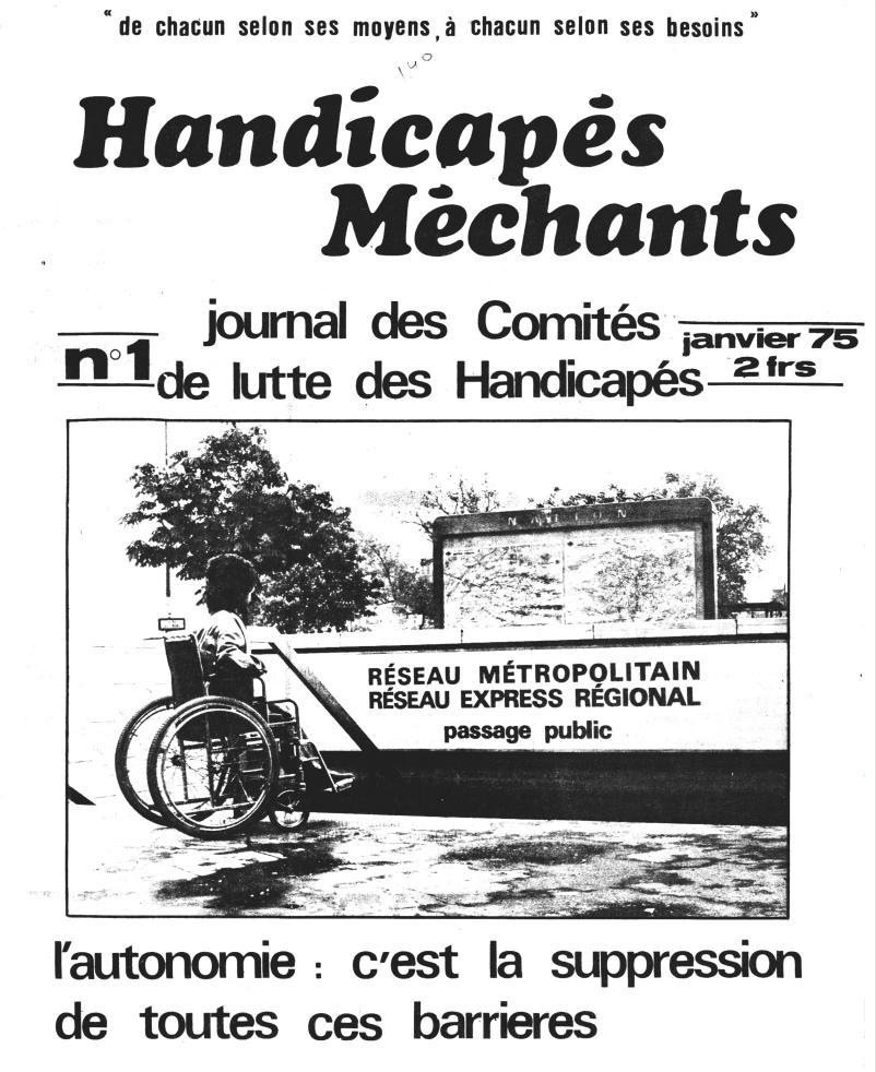 Une du numéro 1 du journal Handicapés Méchants daté de janvier 1975.
