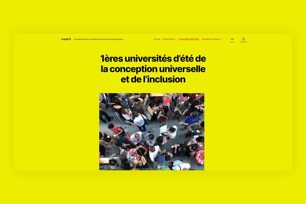 Imprim écran du site internet des universités d'été du CNCPH 2020
